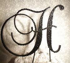 "Handmade Black Swarovski  Crystals 6""  Wedding Cake Topper Monogram Letter ""H"""