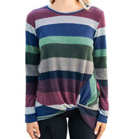 Women's Sweater Long Sleeve Irregularly Twisted Blouse Striped T-shirt S-5XL Red