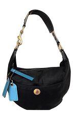 Coach Women's Black Nylon Shoulder Bag with Teal Leather Trim $128 GUC