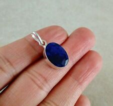 """NATURAL OVAL BLUE SAPPHIRE 925 STERLING SILVER PENDANT 1"""" NECKLACE CHARM"""
