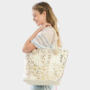 NEW White Canvas Gold Foil Leopard Spots Animal Print Purse Tote Shopping Bag