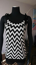 AUTH BALLY KNIT WHITE / BLACK ZIG ZAG TOP BLOUSE Sz 4 NWOT