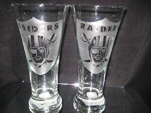 OAKLAND RAIDERS 2 ETCHED LOGO PILSNER GLASSES 20oz NEW