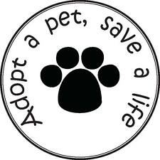 """""""Adopt a pet, save a life"""" dog sticker vinyl decal 4"""" x 4"""" set of two"""