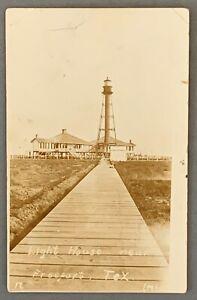 LIGHTHOUSE at FREEPORT, TEXAS - Real Photo Postcard- c1920