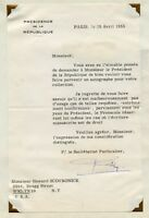 REJECTION LETTER FOR THE AUTOGRAPH OF THE FRENCH PRESIDENT 1955 WITH COVER