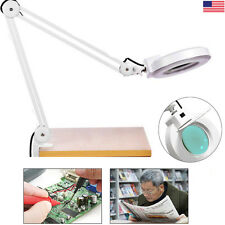 5X Magnifying Large Lens Lighted Lamp Top Desk Magnifier Glass With Clamp USA