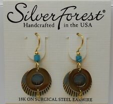 Silver Forest Unique Two Tone Two Layer Sphere & Dangling Bead Hook Earrings