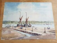 Original Painting David Green Watercolour Pin Mill Suffolk 1970 Art Signed r5P0