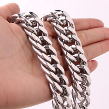 "Color Curb Cuban Link Chain Necklace 18mm 24""Men Stainless Steel Necklace Silver"