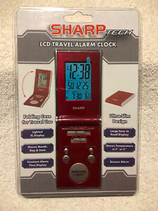 Sharp Tech LCD Travel Alarm Clock Ultra-Slim Design Folding Case SPC430I Red New