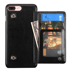 iPhone 7+ / 8+ PLUS - Black Leather Card Flip Wallet Case Cover w/ Snap Fastener