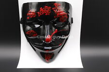 BLACK & RED Anonymous  Protest V For Vendetta Movie Guy Fawkes Mask New look