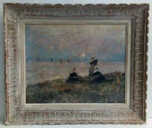 tableau huile sur carton toilé paysage marine BRETAGNE signé F. LE CALVEZ