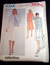 Vogue Designer vintage pattern 2432 Valentino Misses jacket top & skirt Sz 14