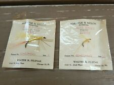 Vtg 2 Nip Miracle X Nylon Flies Fishing Lures Filipiak Bass Trout Moth Mayfly