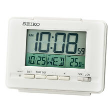 Seiko LCD Alarm Clock with Calendar and Thermometer White Digital Plastic