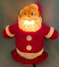 Vintage Flocked Hard Plastic Light Up Santa Figure Christmas Topper Wall Decor
