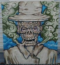 Original outsider art painting abstract expressionist skull face