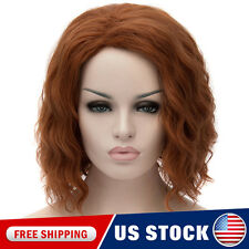 Women Lady New Red Brown Curly Wavy Heat Resistant Wigs Cosplay Anime Wig