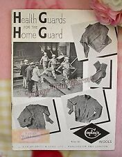 Vintage 1940s Mens  'Health Guards For The Home Guard ' Knitting Pattern WW2