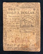 ONE HALF DOLLAR FEBRUARY 17, 1776  CONTINENTAL CURRENCY NOTE (B) CC-21