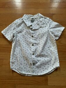 Old Navy Toddler Boy Cotton Blend White Blue Star Button Down Shirt sz 5T NWOT