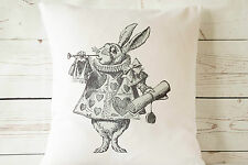 "Classic White Rabbit - 16"" cushion cover Alice in Wonderland Style - UK handmade"