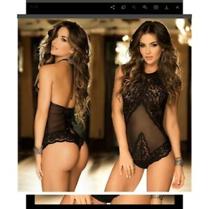 Ladies Sexy Lace Sheer See-Through Underwear Party Lingerie Babydoll Bodysuit UK