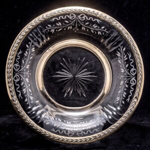 ANTIQUE FRENCH GILT STERLING SILVER CRYSTAL CENTERPIECE SERVING BOWL PLATE DISH
