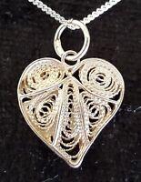 Maltese solid filigree silver vintage Art Deco antique leaf pendant necklace