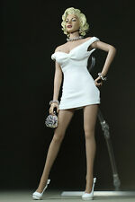 "1/6 Marilyn Monroe Classic White Dress Mini Skirt F 12"" Large Bust Action Figure"