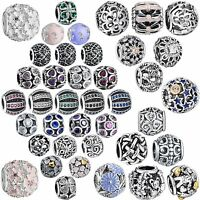 Genuine Crystals Rhinestones Bead Charms For Sterling Women 925 Silver Bracelets