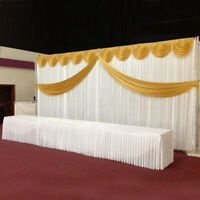Silk Satin Wedding Stage Backdrop Curtain Drape Party Decor Detachable Swag
