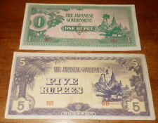 Vintage WWII Set Of 2 Japanese Invasion/Occupation Notes 1 & 5 Rupee From Burma