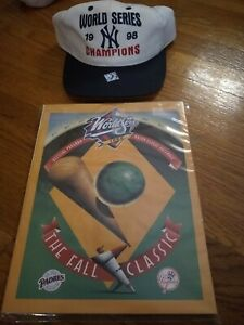 1998 Yankees World Series Program And Hat Mint Brand New Condition!