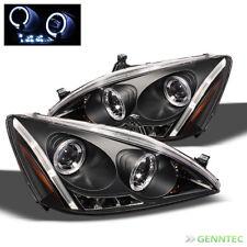 For 2003-2007 Honda Accord Dual Halo LED Pro Headlights Black Head Lights Lamp