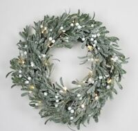 GISELA GRAHAM CHRISTMAS SNOWY MISTLETOE LED WREATH d40cm
