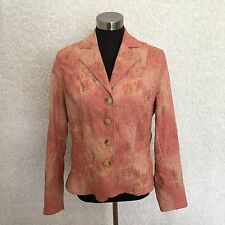 Coldwater Creek Womens Blazer 12 Pink Floral Paisley Embroidered Stretch Cotton