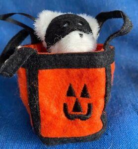"Boyds' White Teddy Bear in Trick or Treat Bag Halloween 4"" 904475 2005 NWT RARE"