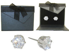 White Gold New Round Stud Earrings Fabulous Cubic Zirconia in Presentation Box