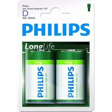 12 Piles (6 Blisters) Zinc Carbone Philips Longlife D / R20 (lr20)