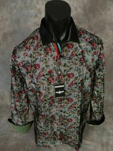 Mens Barabas Premiere Shirt Black Velvet Over Red Florals Classic Fit Button