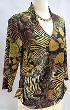 Boho Brand knit top blouse shirt sexy slinky jersey Gold Tan tiger SZ L VTG