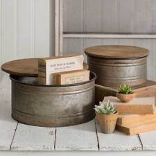 Set of Two Vintage Industrial Style With Lids