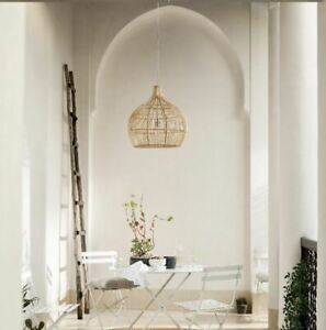 The White Company Large Natural Wicker Rattan Light Shade Ceiling Pendant Cage