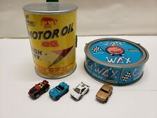 Vintage Micro Machines Motor Oil + Wax Can Playset Galoob Lot W/4 Sports Cars