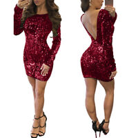 Women Long Sleeve Backless Solid Sequins Bodycon Club Party Cocktail Mini Dress