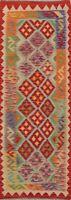Pastel Color Geometric Kilim Oriental Runner Rug Reversible Hand-Woven Wool 2x6