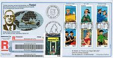 """PE538a FDC Parlement européen """"DE GAULLE - TINTIN Vol 714 pour Sydney"""" 05-2007"""